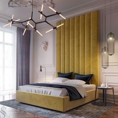 Modern room with yellow bed