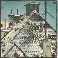 Bronica Koller-Pinell. Rooftops.  Woodcut
