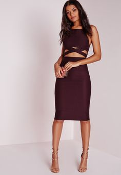 Missguided - Cross Over Waist Midi Dress Dark Purple