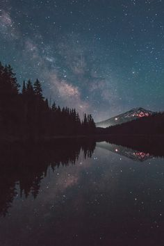 ||night sky||stars||mountain||wood||lake||amazing||♡