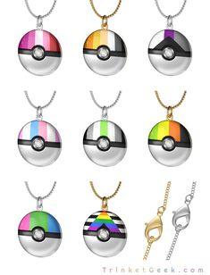 Pokemon LGBT Pride pokeballs in 18k gold and sterling silver #LGBT #pokemon #nintendo #pridemonth #LGBTQ #LGBTQA #LGBTQ+