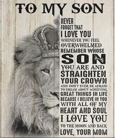 Mothers Love For Her Son, I Love You Mom, I Love You Forever, Believe In You, Love Her, Lion Quotes, Lion Poster, Special Gifts For Mom, Daddy Gifts
