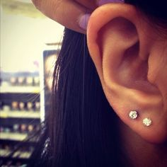 Double diamond ear piercing