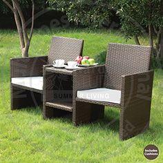 Outsunny Rattan Garden Furniture Pcs Sofa Chair Table Bistro Set