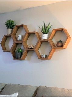 Honeycomb Shelves / Hexagon Shelf / Shelves on Wall / Rustic Shelving Geometric Shelves, Honeycomb Shelves, Hexagon Shelves, Geometric Wall Paint, Living Room Shelves, Home Living Room, Living Room Decor, Shelf Ideas For Living Room, Wooden Living Room Furniture