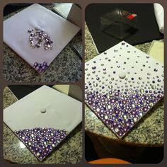 Blinged out graduation cap. A little time consuming since you have to hot glue down each jewel individually, but worth it to see the smile on her face as she shows how much she is loved and encouraged in her uniqueness.: