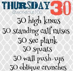 Thursday 30 - #WORKITOUT100