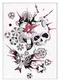 Dessin. Crâne. Engrenage. Horloge. Dot work. Oiseau. Rouge et noir.