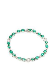 18K White Gold, Emerald