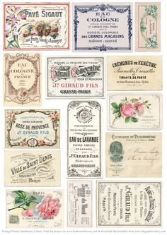vintage-french-apothecary-labels-sm-graphicsfairy                                                                                                                                                                                 More