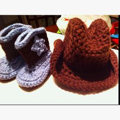 Crocheted baby cowboy hat & boots. (link to boots pattern on etsy - the hat pattern is the same person, though)