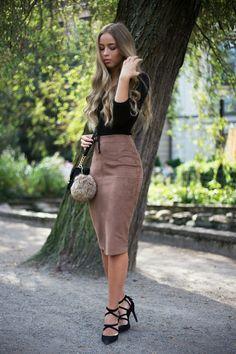 suede pencil skirt www.MATERIALJUNKY.COM SUEDE FASHION | Suede ...