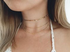 Delicate Gold Choker Necklace / Gold Choker by SimpleDaintyJewelry