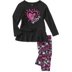 Healthtex Baby Girls' 2-Piece Drawstring Tunic and Printed Legging Set