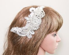 Art Deco Headpiece Rose Comb Lace Hair Comb Wedding by BlingGarden