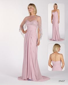 Dress with crepe chiffon cover