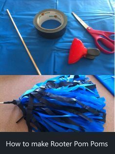 How to make Rooter Pom Poms - Make your own rooter pom poms from dollar store plastic tablecloths, dowels and duct tape!  Step by step video directions!