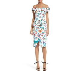 Women's Milly Folkloric Print Poplin Dress ($395) ❤ liked on Polyvore featuring dresses, white, slim fit dress, anchor dress, faux wrap skirt, tie dress and poplin dress