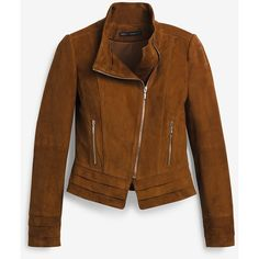 White House Black Market Suede Moto Jacket ($398) ❤ liked on Polyvore featuring outerwear, jackets, stand collar jacket, brown motorcycle jacket, suede moto jackets, zip jacket and rider jacket