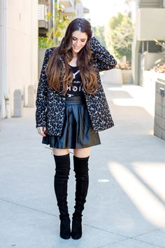 Party wear for the holidays because leopard makes everything more festive! Love the color on this leopard coat, not too bright. And OTK suede boots <3