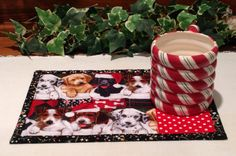 Christmas Quilted Mug Rug - Puppies in Stockings Snack Mat Quiltsy Handmade by PattiesPieces on Etsy