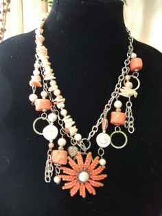 Vintage Flower Center Drop Statement by UniqueDesignsbyCK on Etsy, $34.95