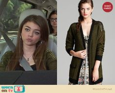 Haley's green cardigan with studded shoulders on Modern Family. Outfit Details: http://wornontv.net/29956/ #ModernFamily