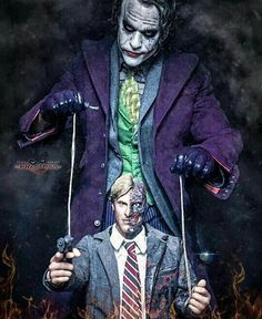 Joker the puppeteer and Two-face the dummy.