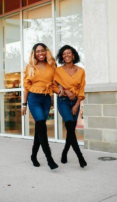 Stylish Sweater Looks: Peplum Hem Sweater Outfit with OTK Boots Black Fashion Bloggers, Black Women Fashion, Trendy Outfits, Cute Outfits, Trendy Shoes, Casual Street Style, Street Style Women, Modest Fashion, Fashion Outfits