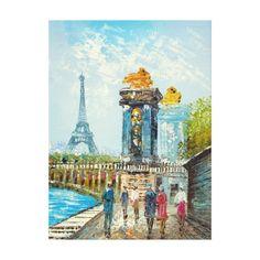 Painting Of Paris Eiffel Tower Scene Canvas Print Paris Eiffel Tower, Tour Eiffel, Eiffel Tower Painting, Paris Gifts, Paris Art, Canvas Art, Canvas Prints, Paris Theme, Vacation Pictures