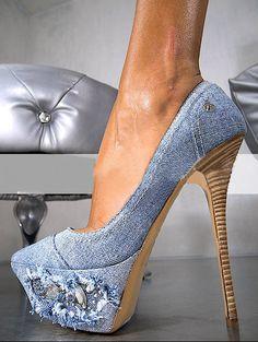 2013 European and American GIANMARCO LORENZI diamond hole denim fashion women high heel shoes retro nightclub