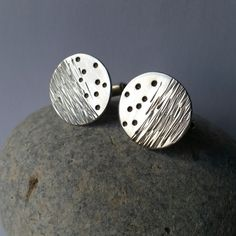 Contemporary Handmade Textured Patterned Sterling Silver Cufflinks