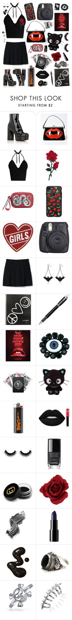 """""""Rosie the Rioter"""" by alexis-marie-burroughs ❤ liked on Polyvore featuring Marc Jacobs, Hell Bunny, RED Valentino, Gucci, Casetify, Fujifilm, Lands' End, Peace Love World, Montblanc and Rodarte"""