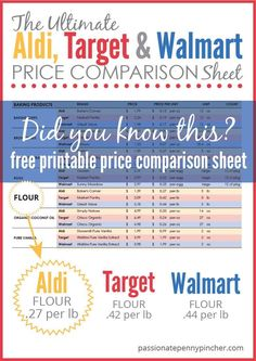 The Ultimate Aldi, Target & Walmart Price Comparison Sheet. Passionate Penny Pincher is the #1 source printable & online coupons! Get your promo codes or coupons & save.