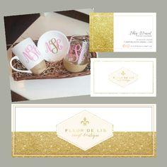 Vinyl Drinkware Branding #golddipped #goldglitter #brand #branded #brandidentity #goldandpink #businesscarddesigb #customdesign #graphicdesigner #logo #customlogo #logodesign #goldmug #dippedmug #dippedtumbler #smallbusiness #fleurdelis #fleurdelislogo #marketingmaterials #brandingkit #marketingkit www.etsy.com/shop/arrowcreativedesign