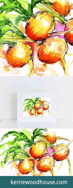 whimsical print | kitchen art | fruit print | watercolour | beets | orange print | wall art