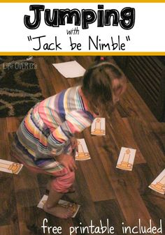 This nursery rhyme gross motor activity is quick to prepare and so much fun to do! My kids loved jumping over the candlesticks with the Jack be Nimble nursery rhyme.