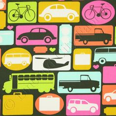 Timeless Treasures Transportation Cars Trucks Planes fabric. Pretty