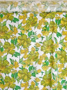 Vintage Fabric 1970s Floral Curtain / Upholstery By Gollidrops, $13.00