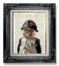 I think I found something else for the bedroom...DICTIONARY Art Print Pug Dog PUG Art Pug Print by GoGoBookart, $10.00