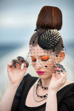 Spiked Tear Drop Fascinator with Dotted Veil, Punk Chic Cocktail Hat, Choose Gold or Silver Spikes, by LENA QUIST