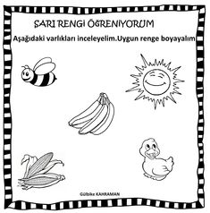 okul öncesi sarı renk Preschool Kindergarten, Diy And Crafts, Cards, Decor, Color, Masks, Decorating, Maps