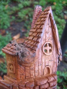 wood carving cottonwood bark | Fairy House Cottonwood Carving Whimsical Home by RiverOtterRustic