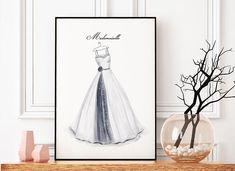 """Printable Fashion Art """"Ballkleid"""", Fashionprint, Digitaler Download, Wallart / Poster zum Ausdrucken"""