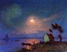 "Ferdinand du Puigaudeau, ""Pont-Aven in the Moonlight"" (1890)"