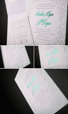 Emerald Foil Joie de Vivre wedding invitations | Bella Figura
