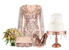 """""""Rose Gold Wedding"""" by sjlew ❤ liked on Polyvore featuring Lutz Huelle, Banana Republic and Allurez"""