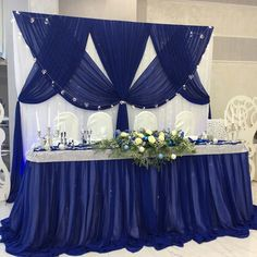 Discover recipes, home ideas, style inspiration and other ideas to try. Blue Wedding Decorations, Backdrop Decorations, Wedding Centerpieces, Wedding Table, Wedding Day, Wedding Wishes, Table Centerpieces, Wedding Stage Backdrop, Wedding Backdrop Design