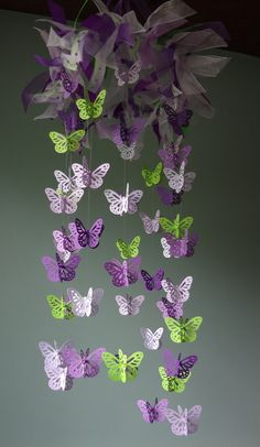 SALE Butterfly Mobile Lavender Purple Lime by KingdomValleyCrafts, $53.00