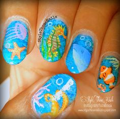Style Those Nails: Sea Creatures Nailart for SummersStyle Those Nails: A day at the Beach - Summer Beach Nails click here http://stylethosenails.blogspot.com/2014/04/sea-creatures-nailart-for-summers.html #seanails #seacreatures #seacreaturesnails #summernails #popularsummernails #stnchallenges